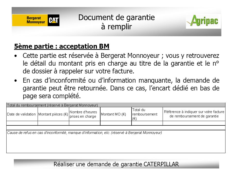 Document de garantie à remplir