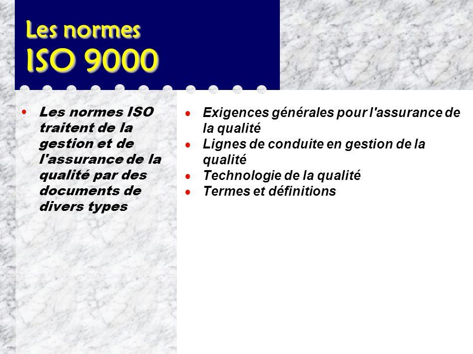 Les normes ISO 9000 Les normes ISO traitent de la gestion et de l assurance de la qualité par des documents de divers types.