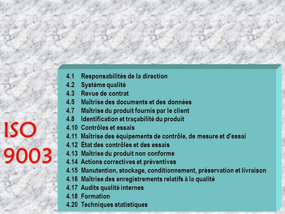 ISO 9003 4.1 Responsabilités de la direction 4.2 Système qualité