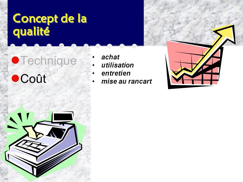 Concept de la qualité Technique Coût achat utilisation entretien