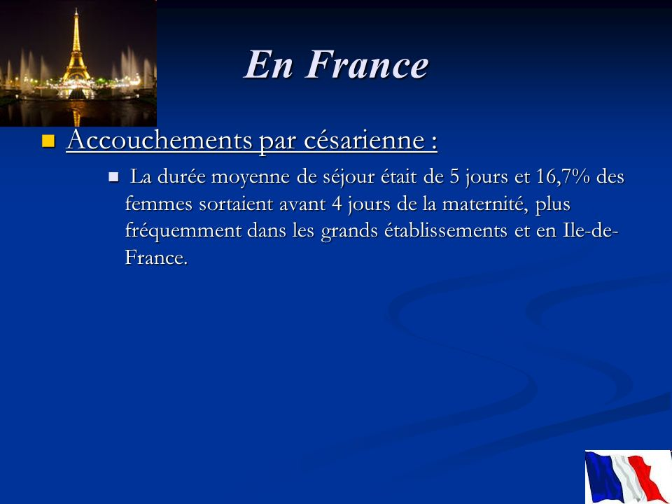 En France Accouchements par césarienne :