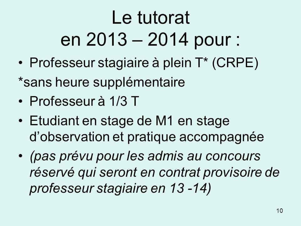 Le tutorat en 2013 – 2014 pour : Professeur stagiaire à plein T* (CRPE) *sans heure supplémentaire.