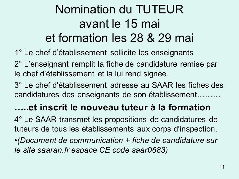 Nomination du TUTEUR avant le 15 mai et formation les 28 & 29 mai