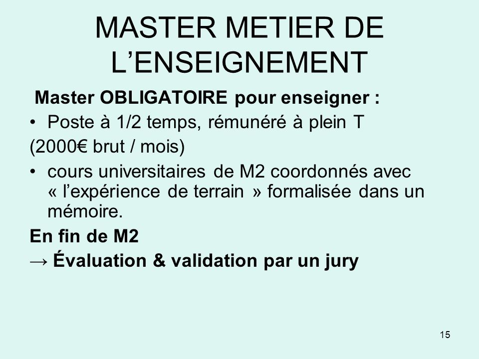 MASTER METIER DE L'ENSEIGNEMENT