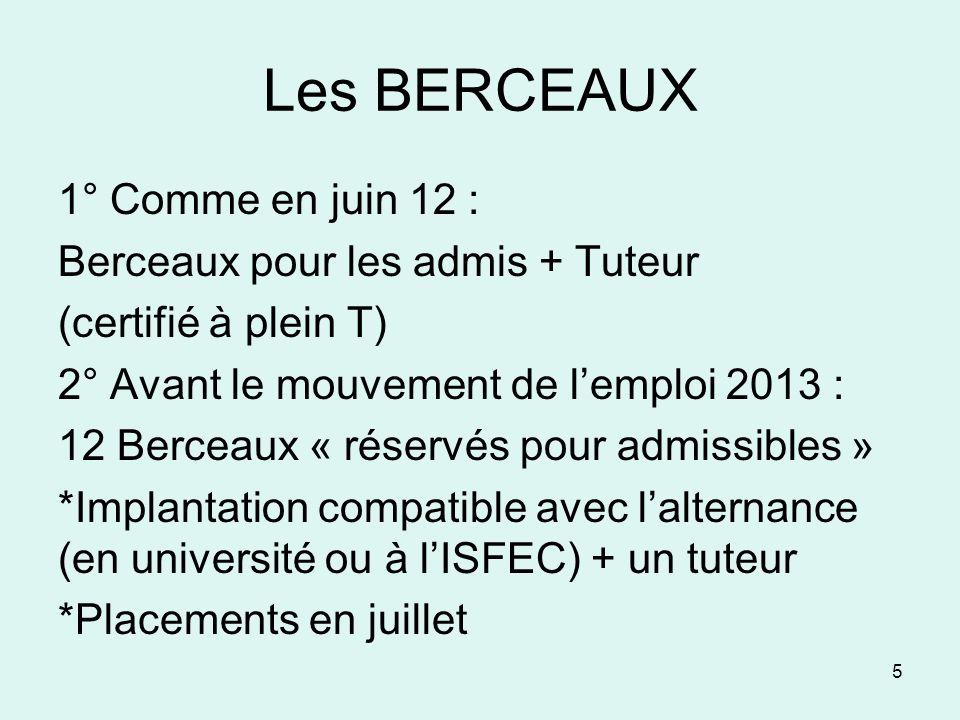 Les BERCEAUX 1° Comme en juin 12 : Berceaux pour les admis + Tuteur