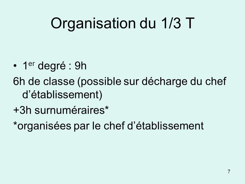 Organisation du 1/3 T 1er degré : 9h