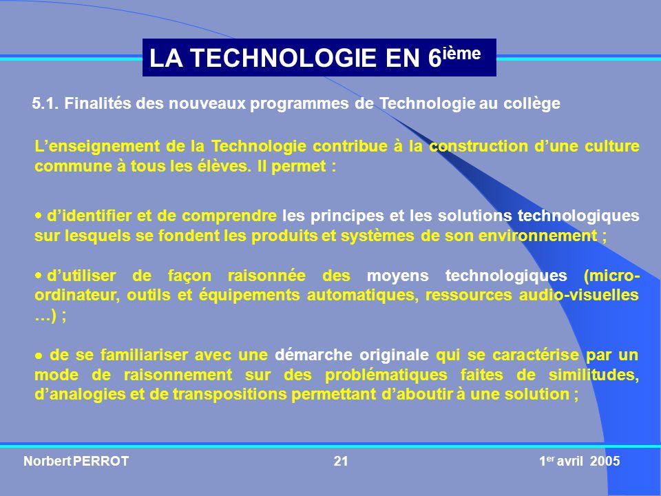 5.1. Finalités des nouveaux programmes de Technologie au collège