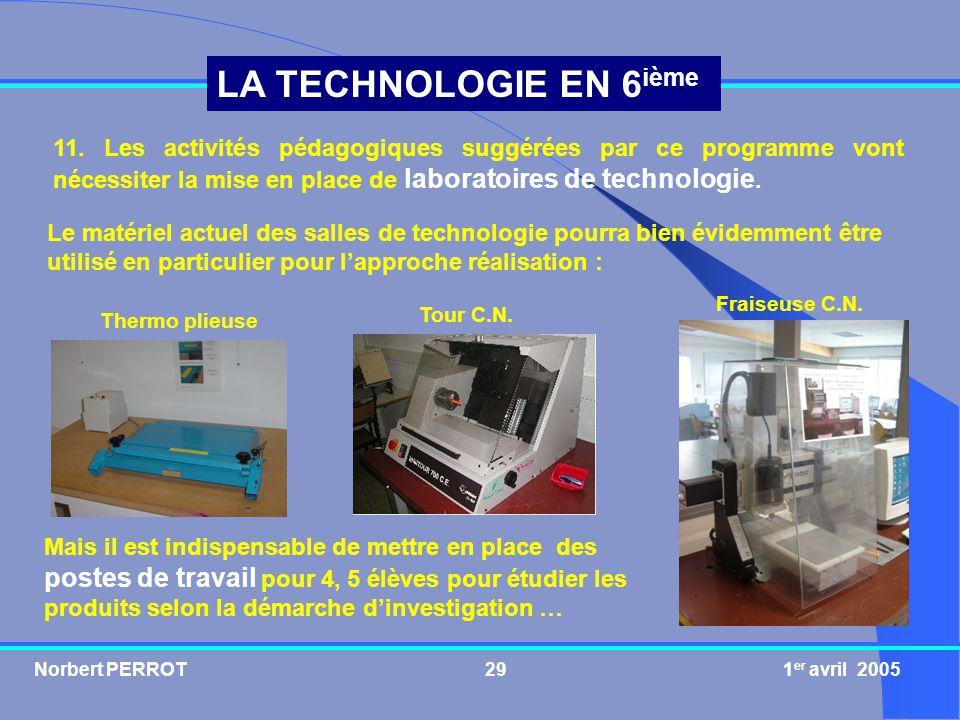 11. Les activités pédagogiques suggérées par ce programme vont nécessiter la mise en place de laboratoires de technologie.