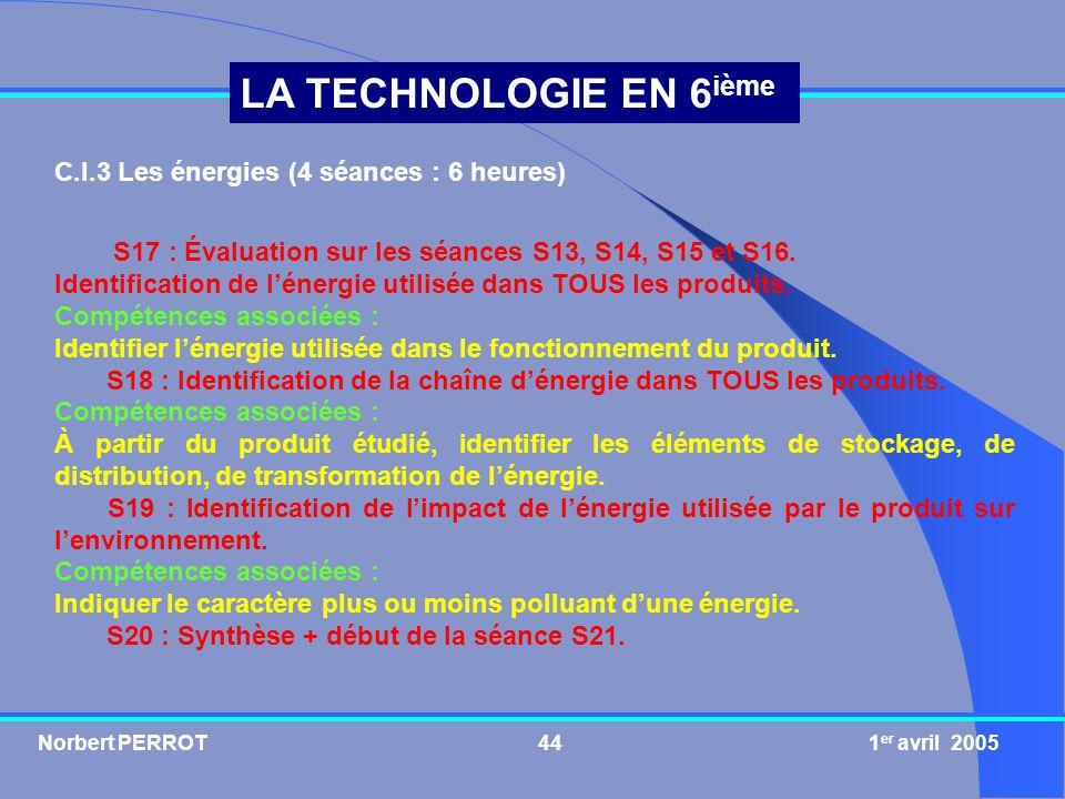 C.I.3 Les énergies (4 séances : 6 heures)
