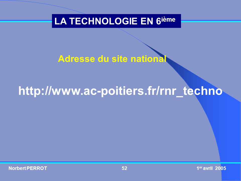 Adresse du site national