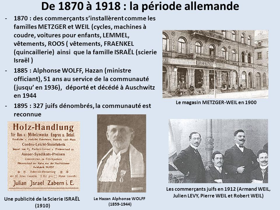 De 1870 à 1918 : la période allemande