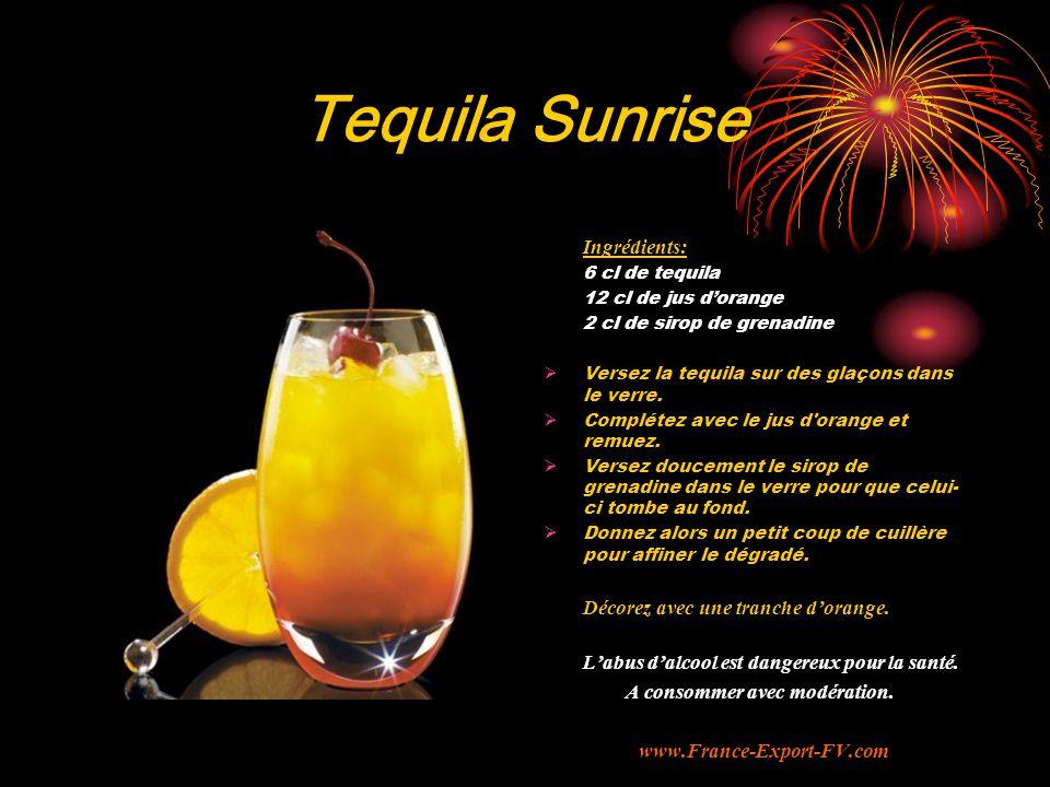 Tequila Sunrise Ingrédients: Décorez avec une tranche d'orange.