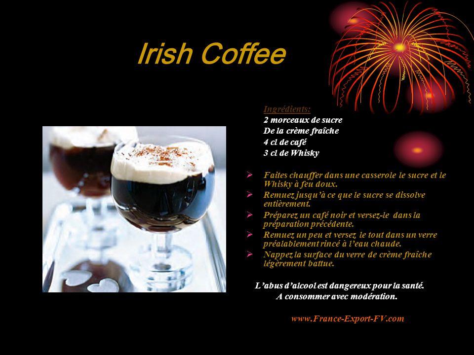 Irish Coffee Ingrédients: 2 morceaux de sucre De la crème fraîche