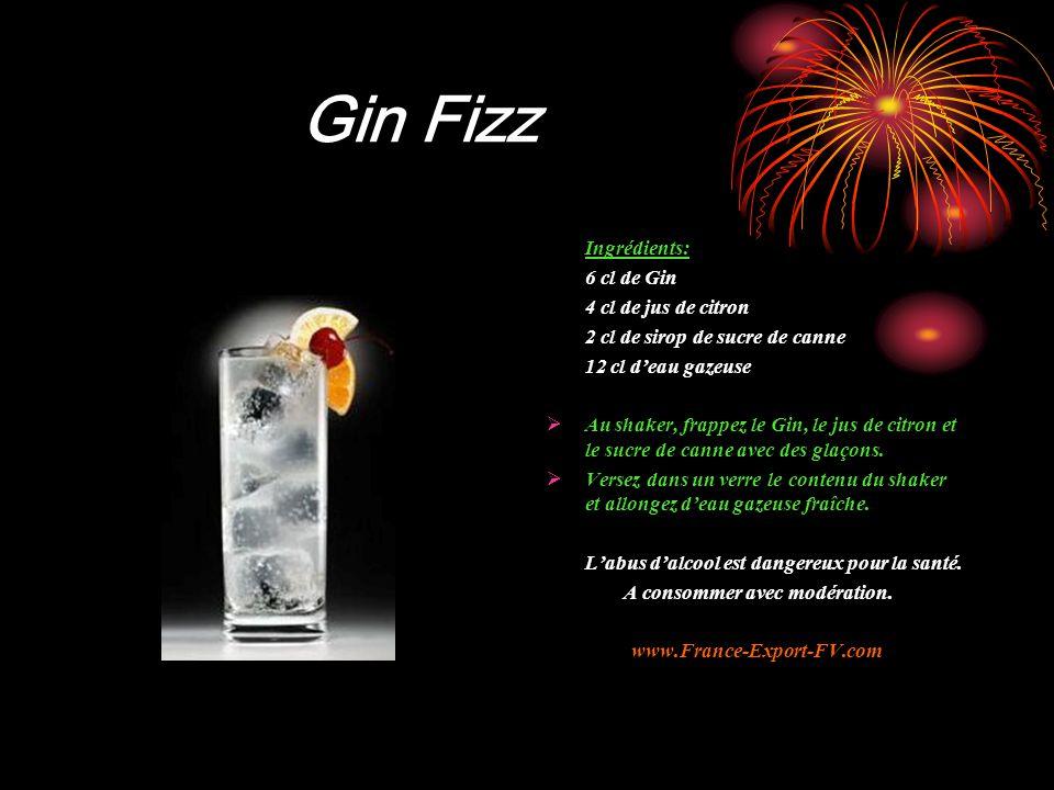 Gin Fizz Ingrédients: 6 cl de Gin 4 cl de jus de citron