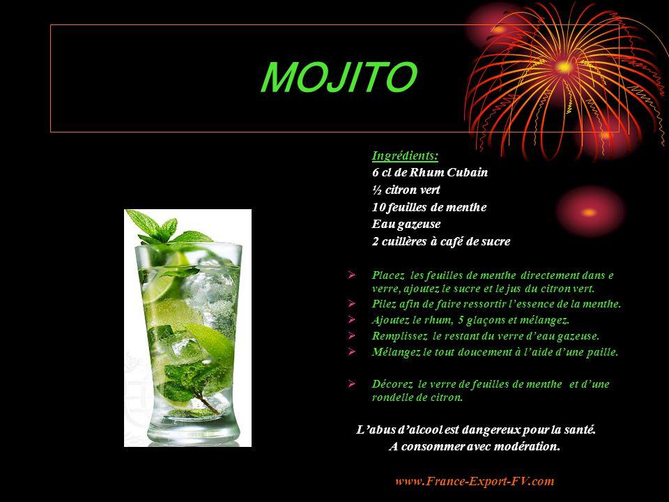 MOJITO Ingrédients: 6 cl de Rhum Cubain ½ citron vert