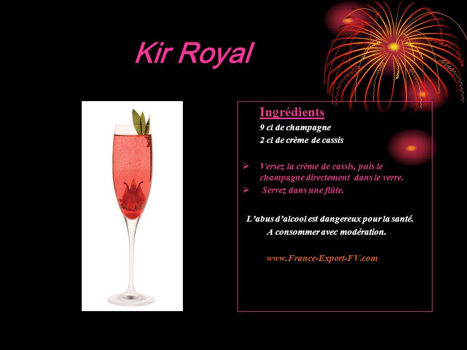 Kir Royal Ingrédients 9 cl de champagne 2 cl de crème de cassis