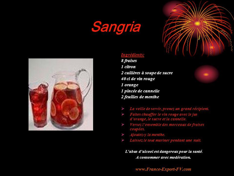 Sangria Ingrédients: 8 fraises 1 citron 2 cuillères à soupe de sucre