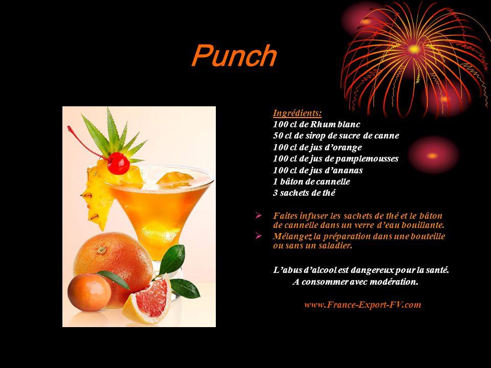 Punch L'abus d'alcool est dangereux pour la santé. Ingrédients: