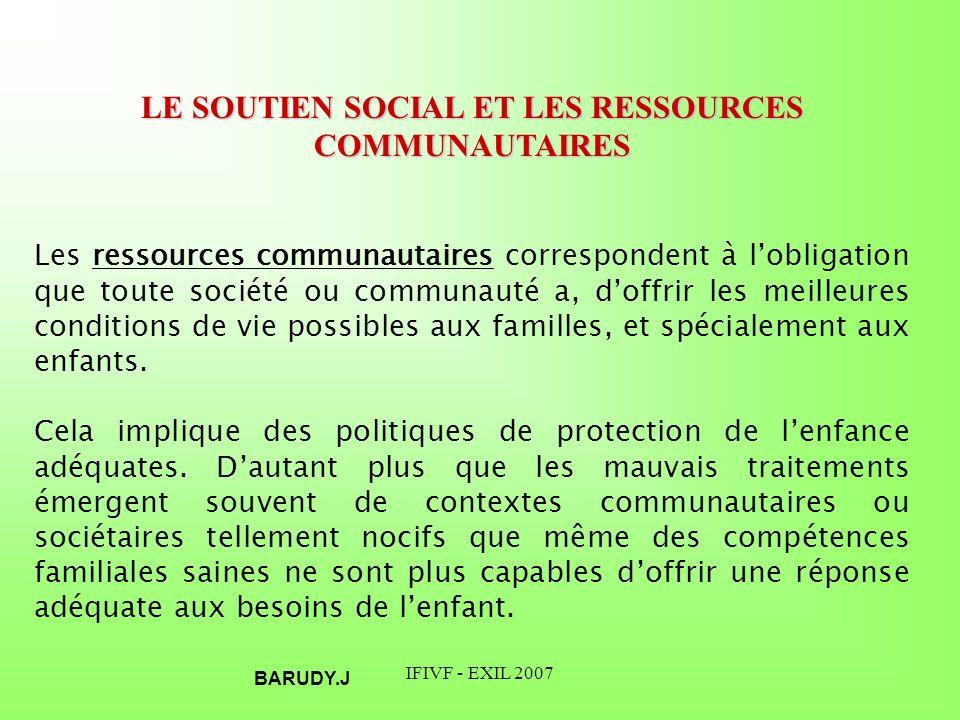 LE SOUTIEN SOCIAL ET LES RESSOURCES COMMUNAUTAIRES
