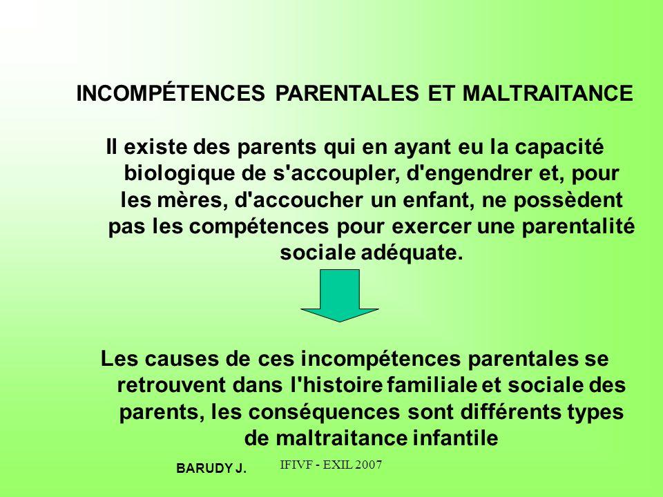 INCOMPÉTENCES PARENTALES ET MALTRAITANCE