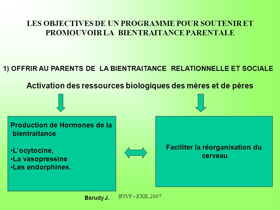 Activation des ressources biologiques des mères et de pères