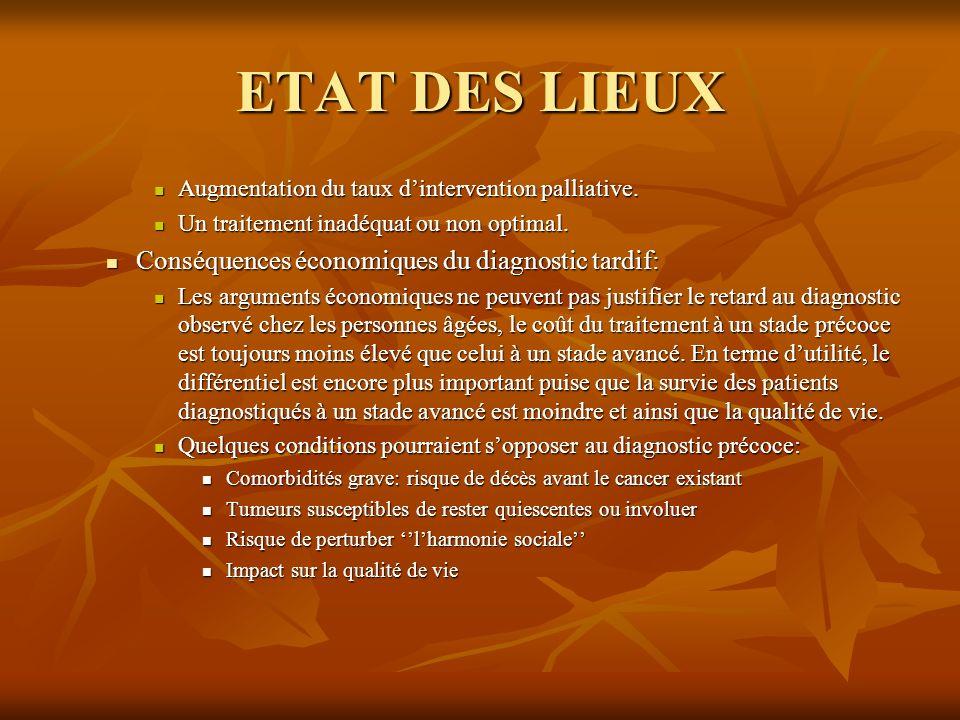 ETAT DES LIEUX Conséquences économiques du diagnostic tardif: