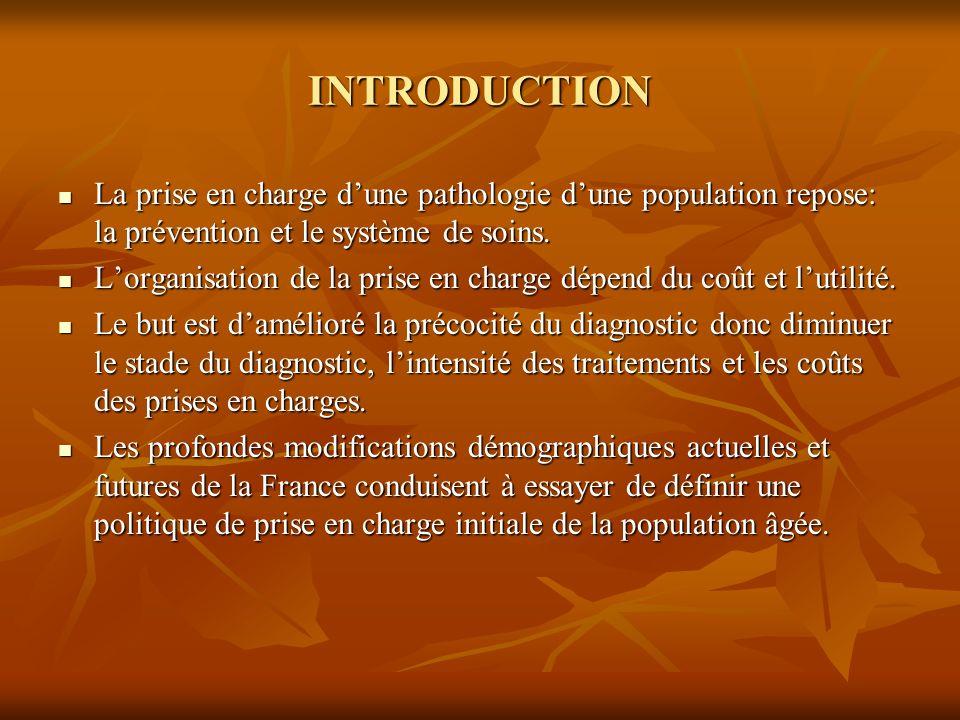 INTRODUCTION La prise en charge d'une pathologie d'une population repose: la prévention et le système de soins.