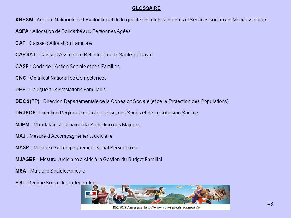 GLOSSAIRE ANESM : Agence Nationale de l'Evaluation et de la qualité des établissements et Services sociaux et Médico-sociaux.