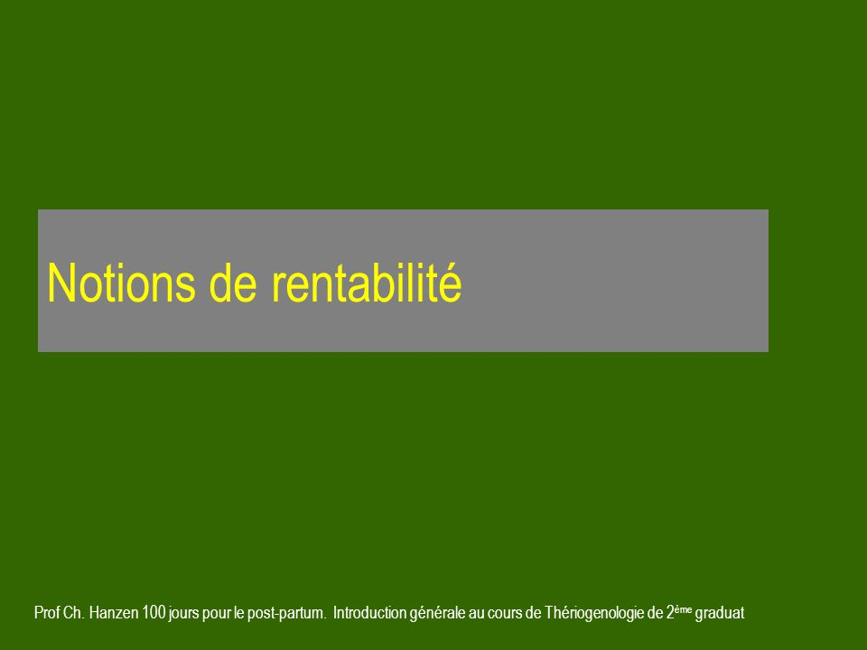 Notions de rentabilité