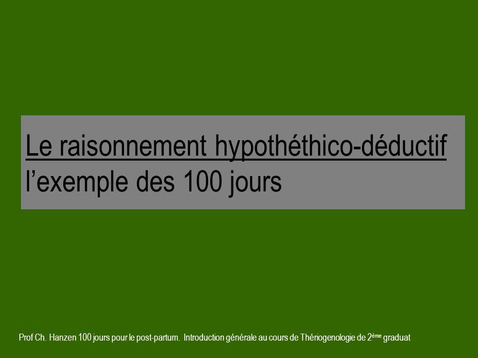 Le raisonnement hypothéthico-déductif l'exemple des 100 jours