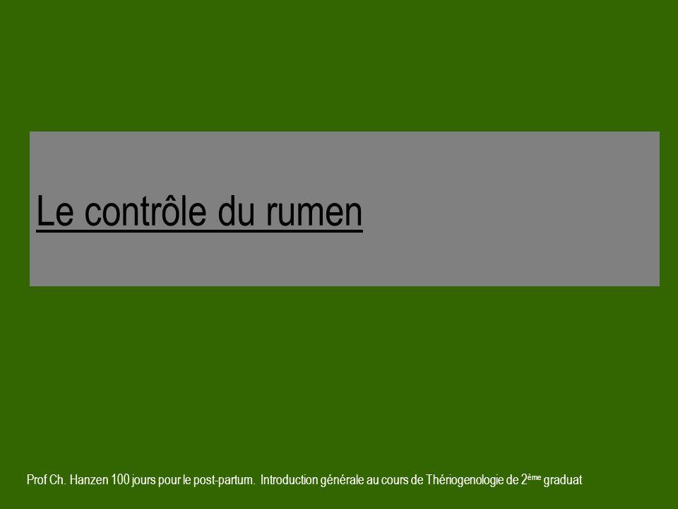 Le contrôle du rumen Prof Ch. Hanzen 100 jours pour le post-partum.