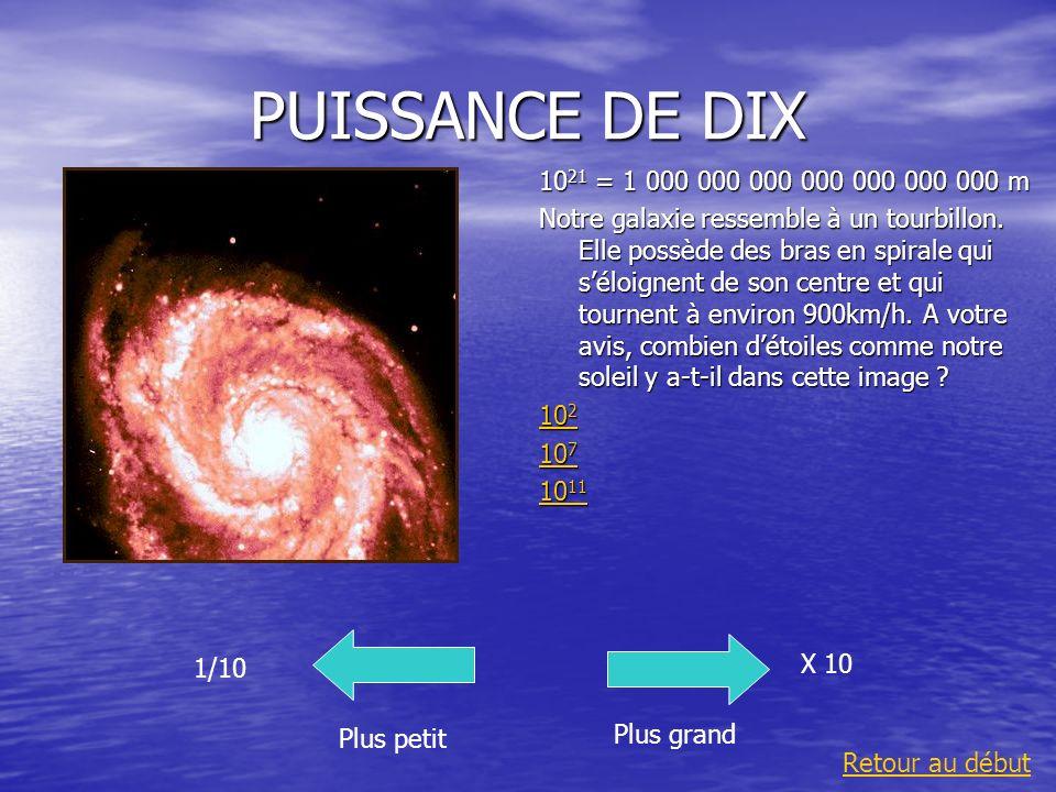 PUISSANCE DE DIX1021 = 1 000 000 000 000 000 000 000 m.