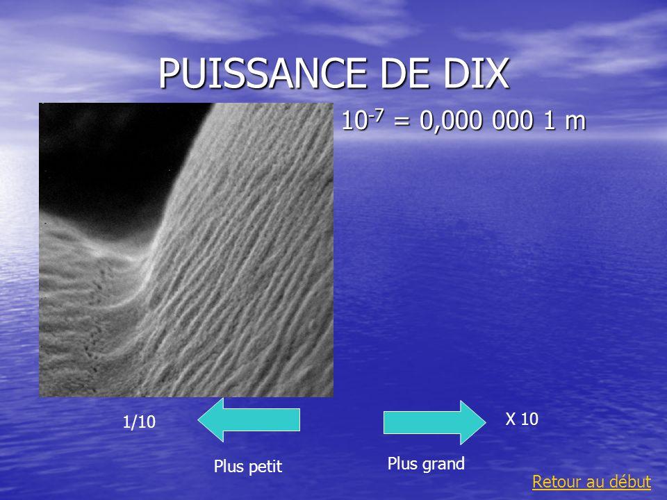 PUISSANCE DE DIX 10-7 = 0,000 000 1 m X 10 1/10 Plus grand Plus petit