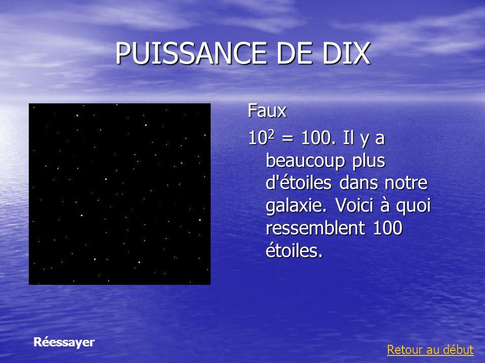 PUISSANCE DE DIX Faux. 102 = 100. Il y a beaucoup plus d étoiles dans notre galaxie. Voici à quoi ressemblent 100 étoiles.
