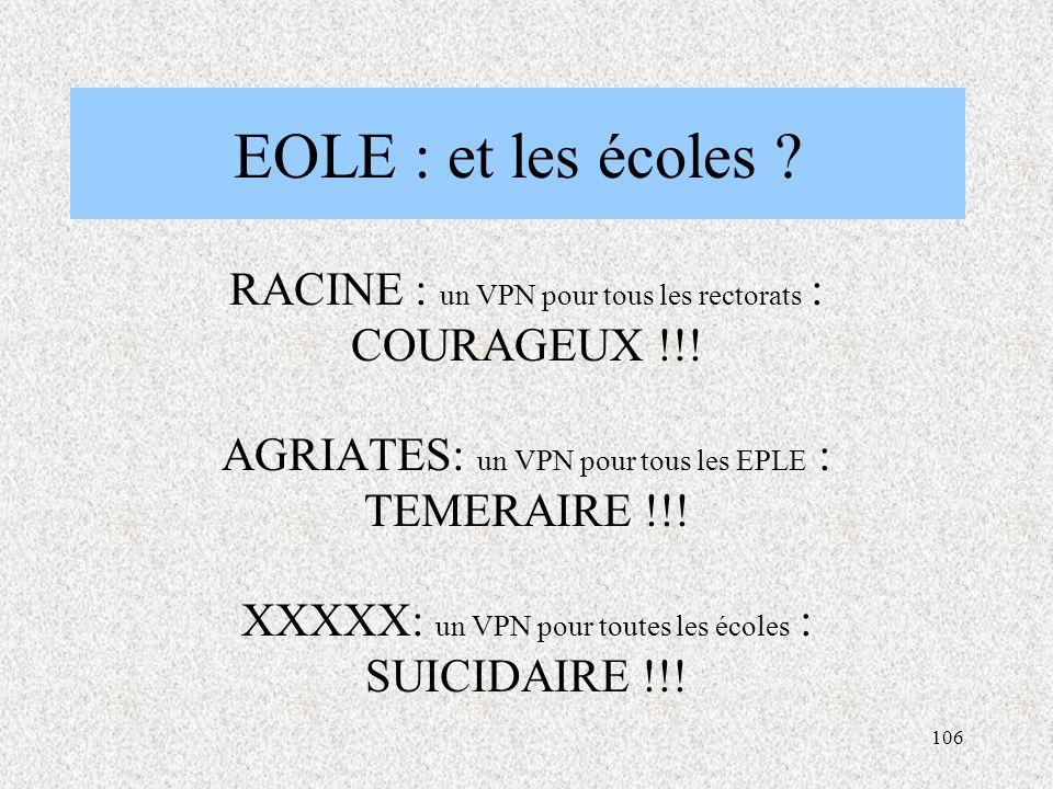 EOLE : et les écoles RACINE : un VPN pour tous les rectorats : COURAGEUX !!! AGRIATES: un VPN pour tous les EPLE : TEMERAIRE !!!