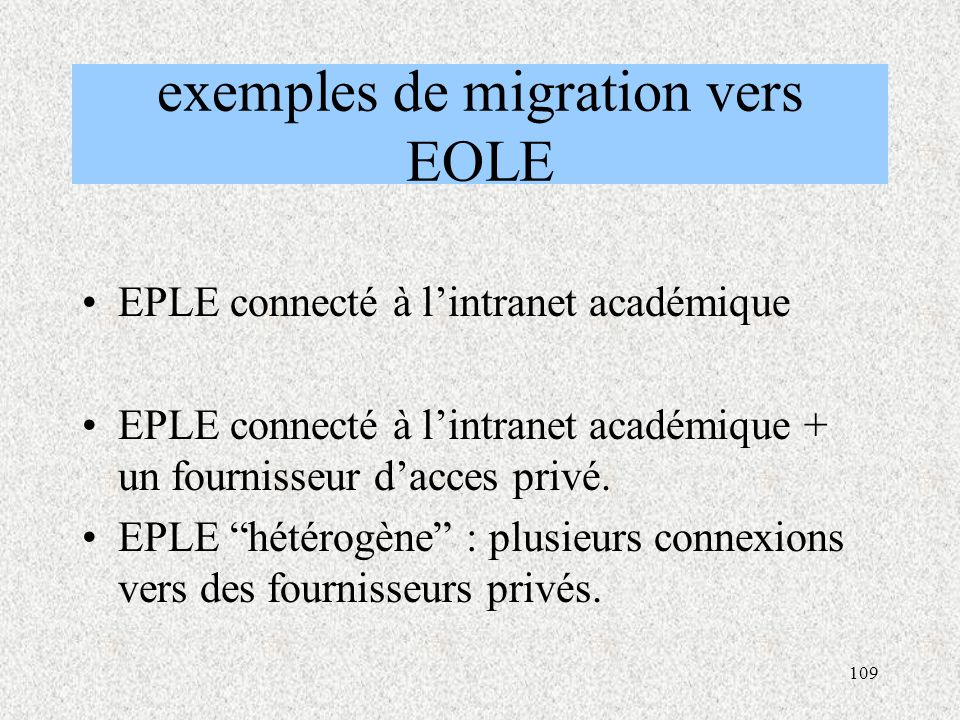 exemples de migration vers EOLE