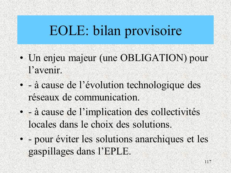EOLE: bilan provisoire