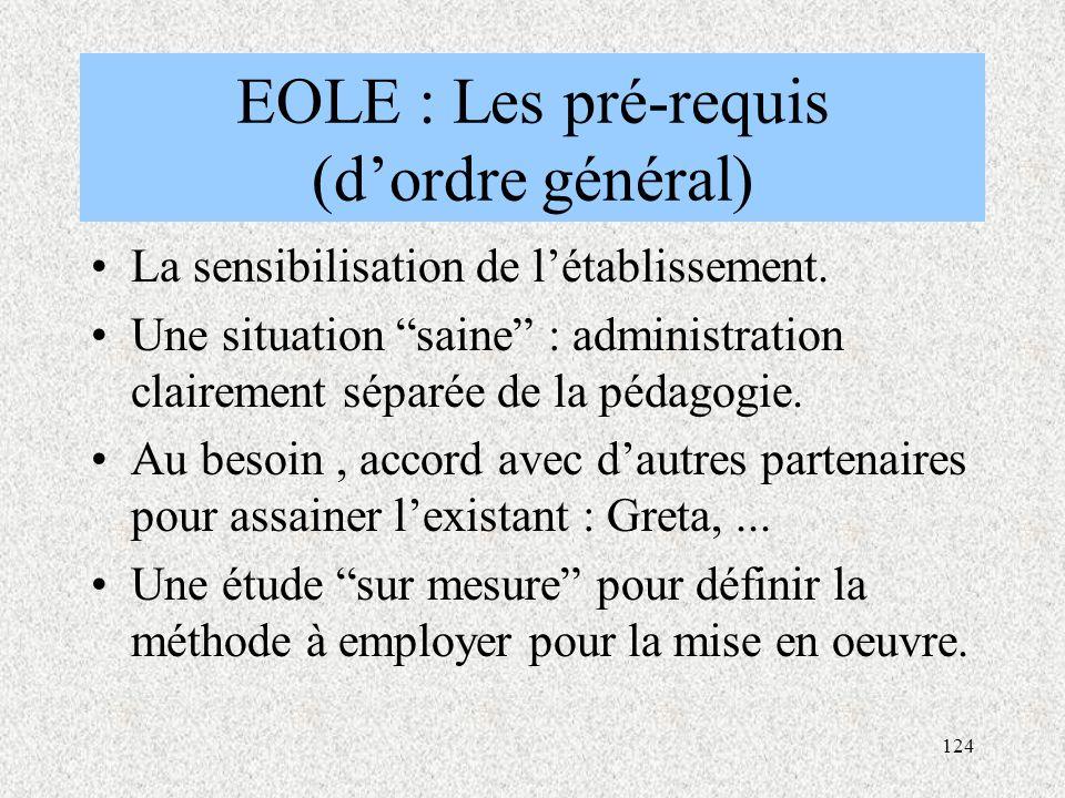 EOLE : Les pré-requis (d'ordre général)