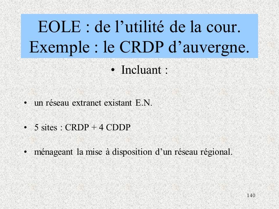 EOLE : de l'utilité de la cour. Exemple : le CRDP d'auvergne.