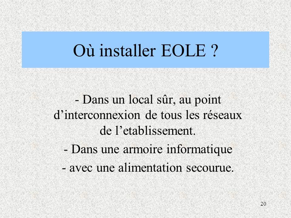 Où installer EOLE - Dans un local sûr, au point d'interconnexion de tous les réseaux de l'etablissement.
