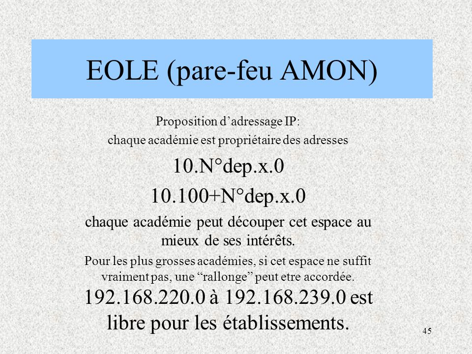 EOLE (pare-feu AMON) 10.N°dep.x.0 10.100+N°dep.x.0