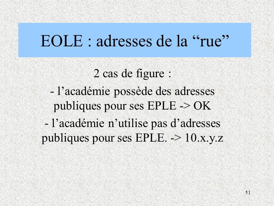 EOLE : adresses de la rue