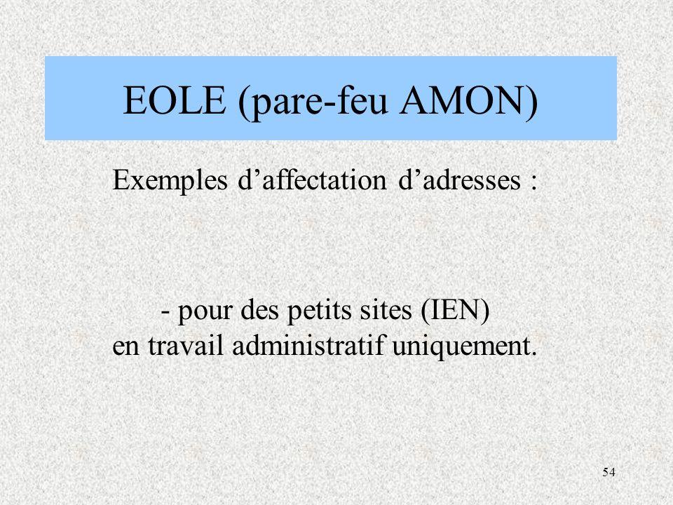 EOLE (pare-feu AMON) Exemples d'affectation d'adresses :