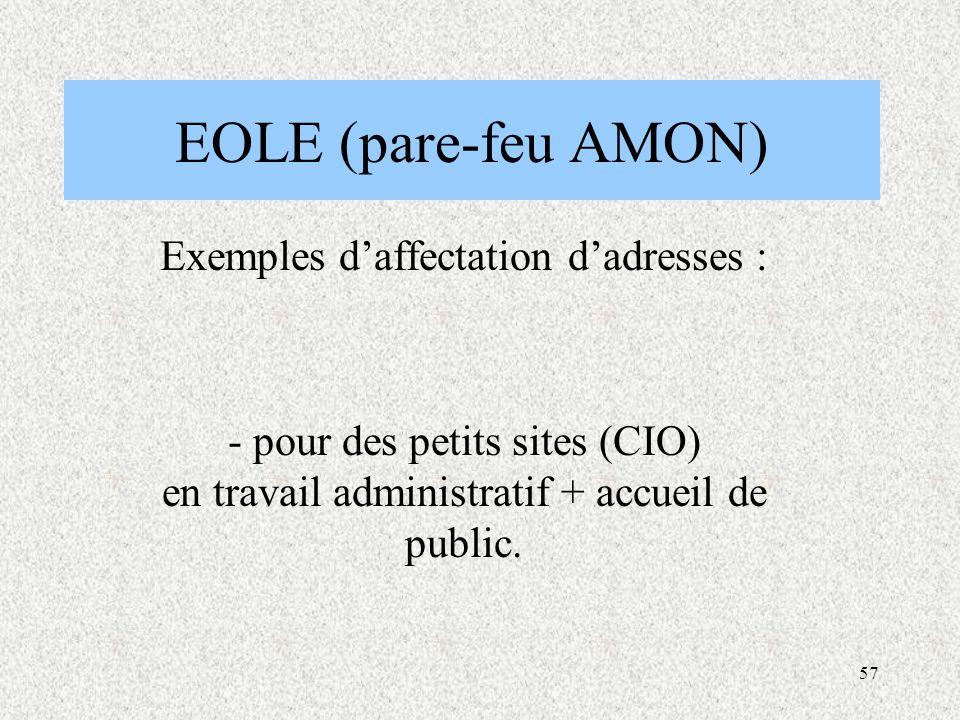 Exemples d'affectation d'adresses :