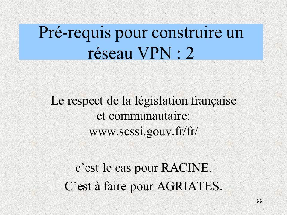 Pré-requis pour construire un réseau VPN : 2