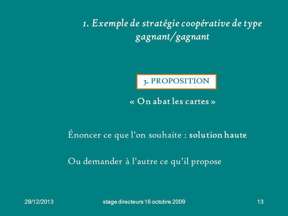 1. Exemple de stratégie coopérative de type gagnant/gagnant