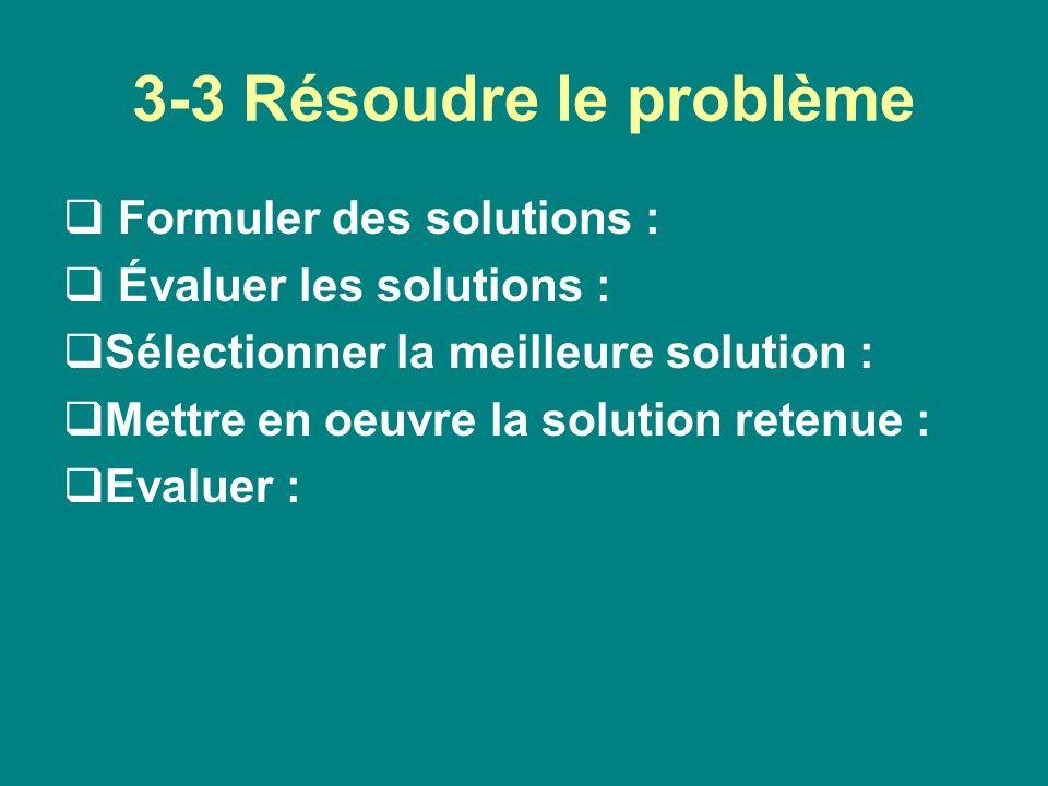 3-3 Résoudre le problème Formuler des solutions :