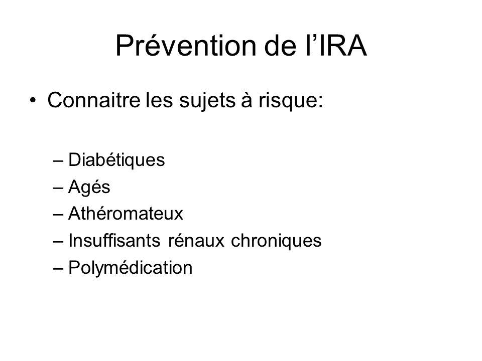 Prévention de l'IRA Connaitre les sujets à risque: Diabétiques Agés