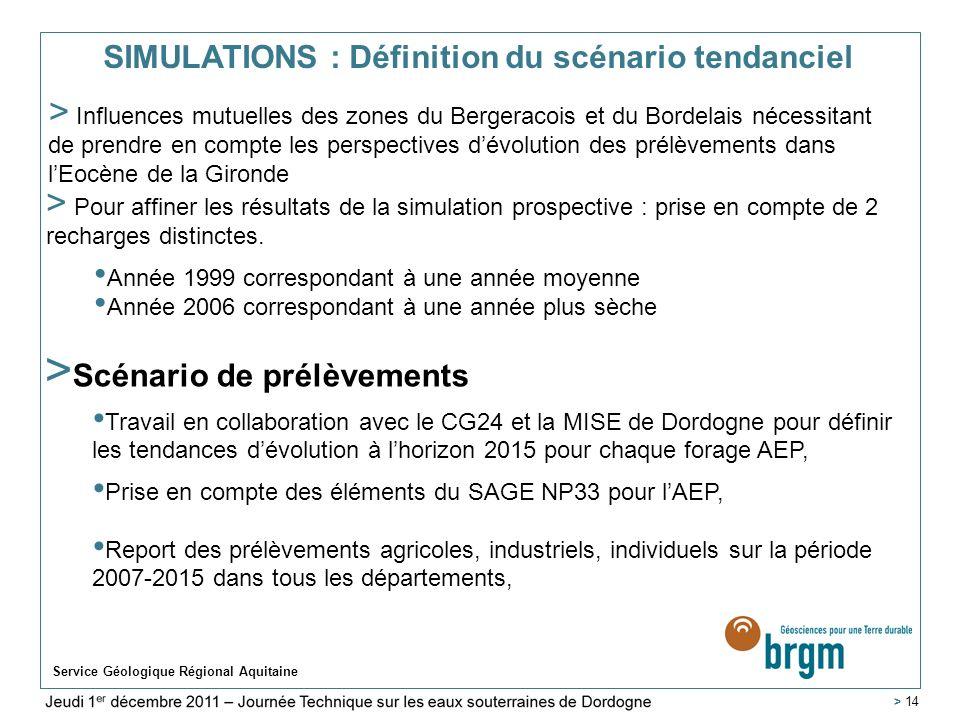 SIMULATIONS : Définition du scénario tendanciel