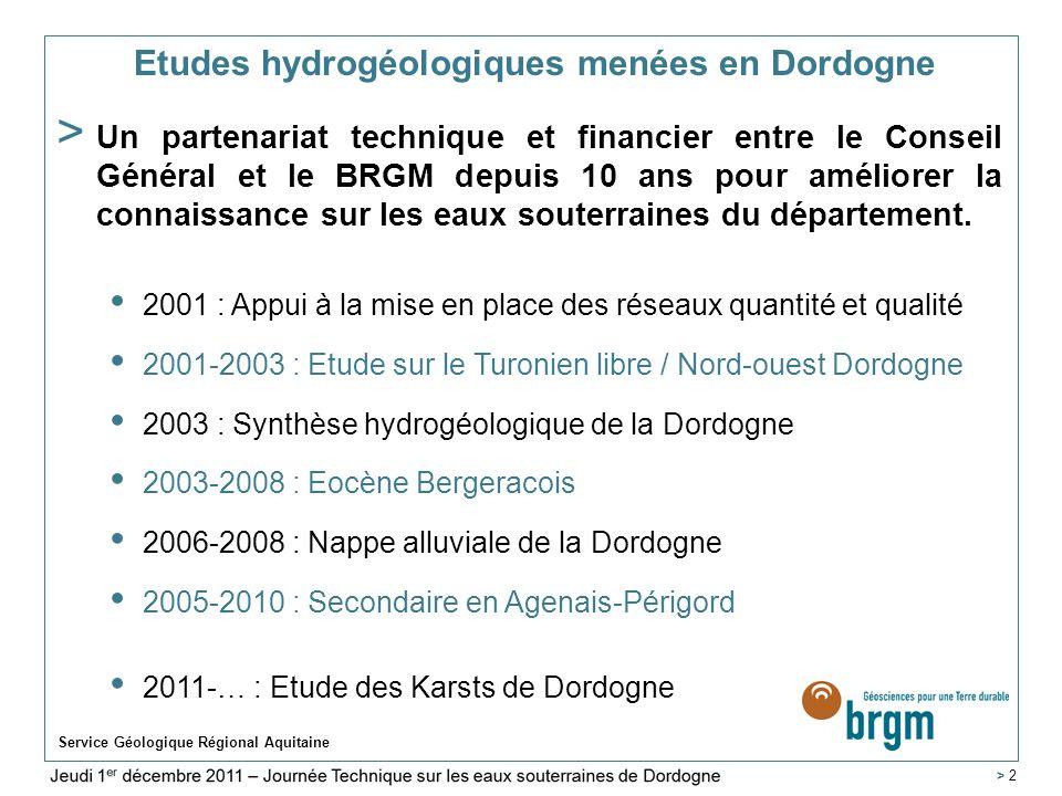 Etudes hydrogéologiques menées en Dordogne
